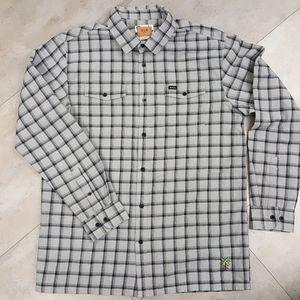 RVCA plaid men button down men shirt Large